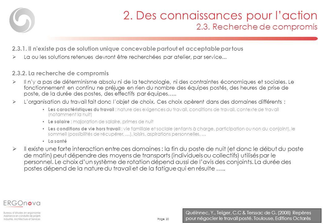 Page 20 2. Des connaissances pour laction 2.3. Recherche de compromis Quéinnec, Y., Teiger, C.C & Terssac de G. (2008) Repères pour négocier le travai