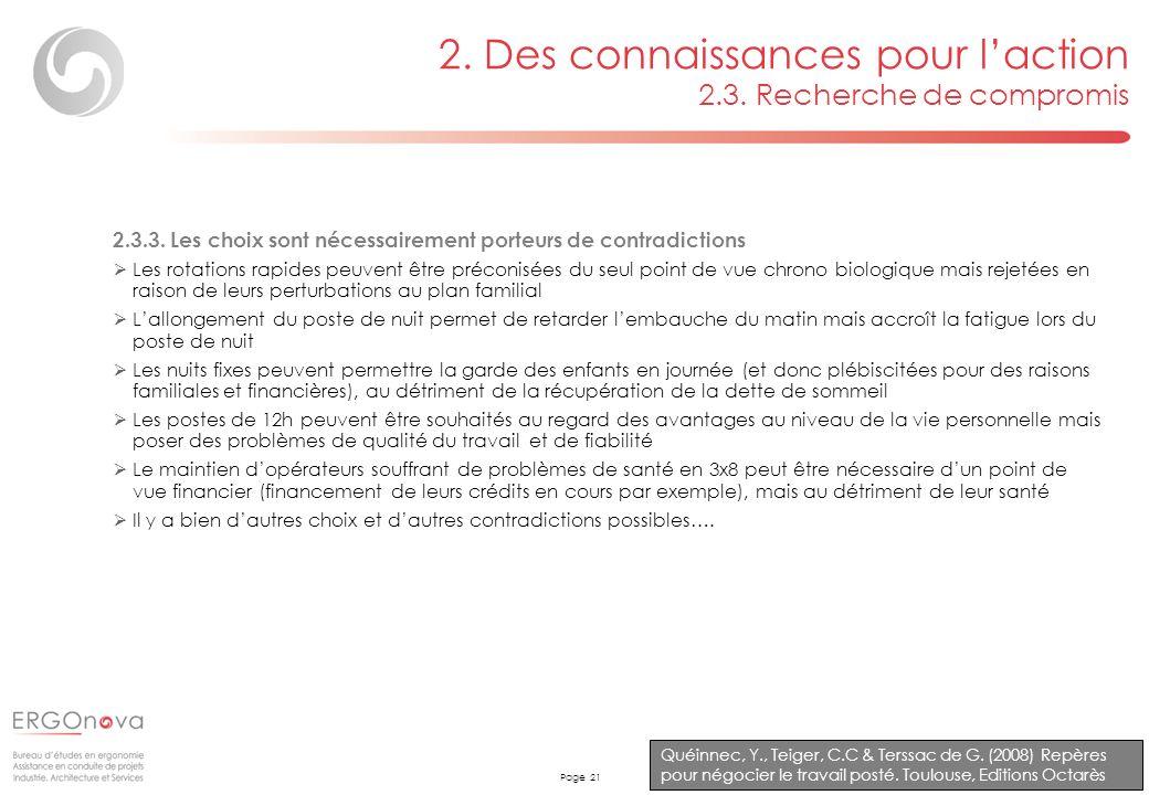 Page 21 2. Des connaissances pour laction 2.3. Recherche de compromis Quéinnec, Y., Teiger, C.C & Terssac de G. (2008) Repères pour négocier le travai