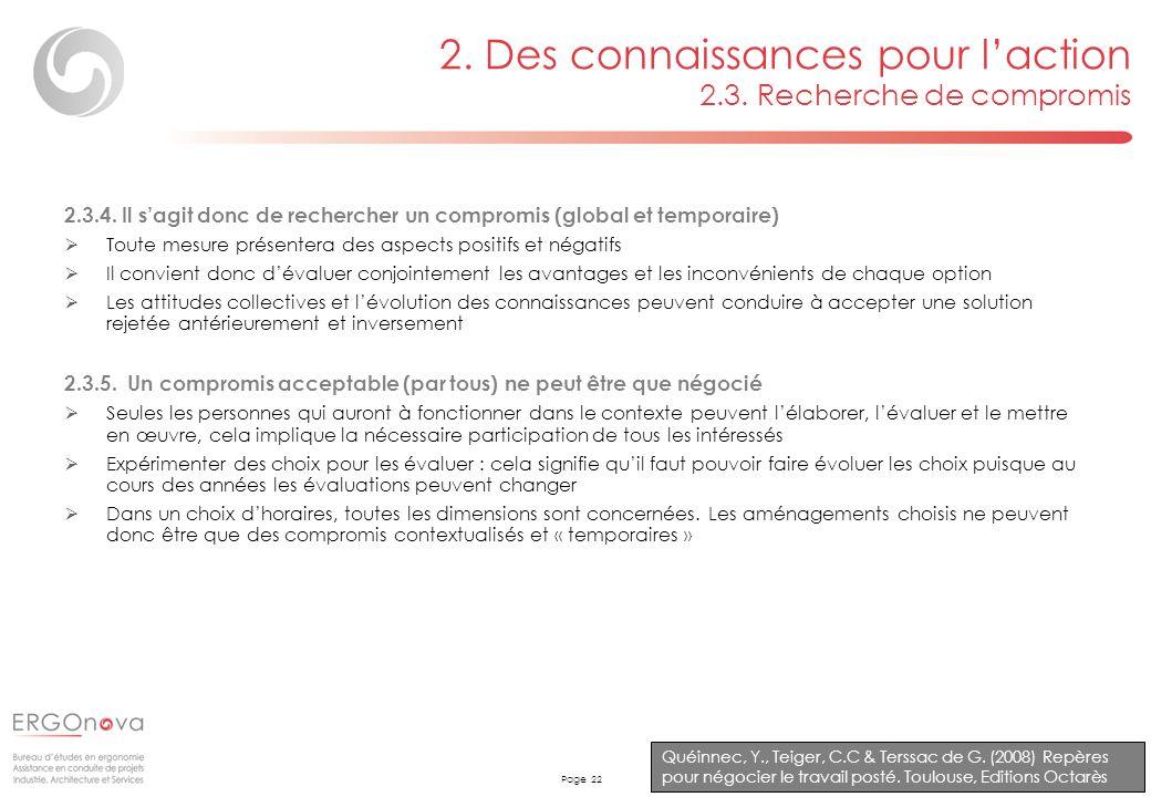 Page 22 2. Des connaissances pour laction 2.3. Recherche de compromis Quéinnec, Y., Teiger, C.C & Terssac de G. (2008) Repères pour négocier le travai