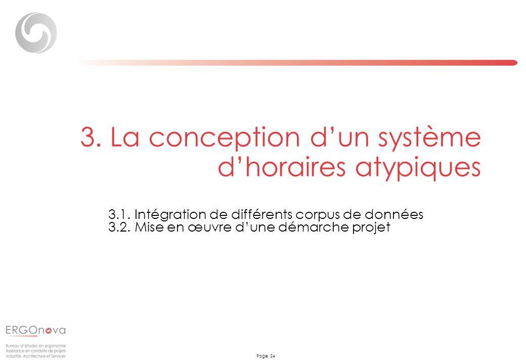 Page 24 3. La conception dun système dhoraires atypiques 3.1. Intégration de différents corpus de données 3.2. Mise en œuvre dune démarche projet
