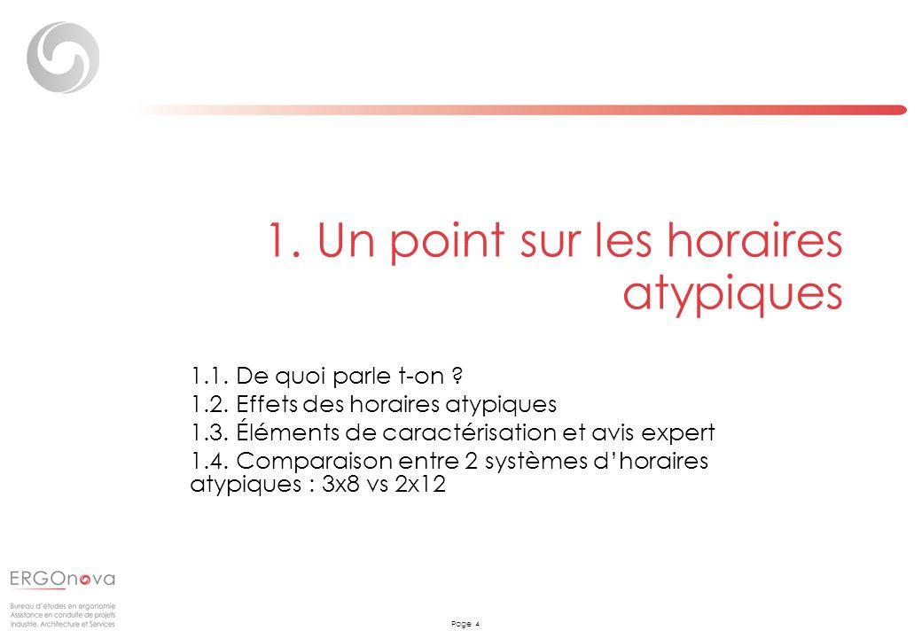 Page 4 1. Un point sur les horaires atypiques 1.1. De quoi parle t-on ? 1.2. Effets des horaires atypiques 1.3. Éléments de caractérisation et avis ex