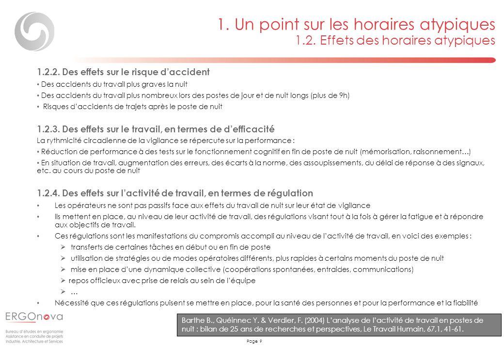 Page 9 1. Un point sur les horaires atypiques 1.2. Effets des horaires atypiques Barthe B., Quéinnec Y. & Verdier, F. (2004) Lanalyse de lactivité de