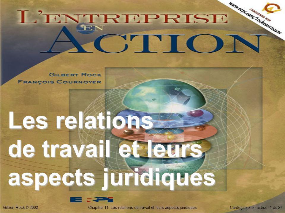 Gilbert Rock © 2002Chapitre 11 Les relations de travail et leurs aspects juridiquesLentreprise en action 1 de 27 Les relations de travail et leurs aspects juridiques