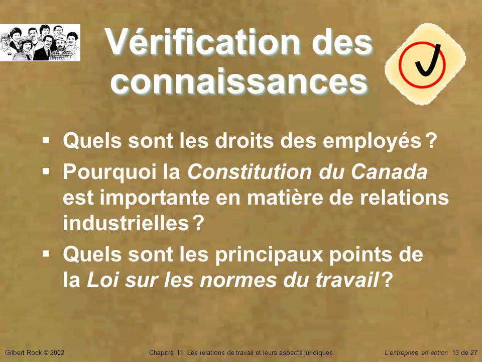 Gilbert Rock © 2002Chapitre 11 Les relations de travail et leurs aspects juridiquesLentreprise en action 13 de 27 Vérification des connaissances Quels sont les droits des employés .