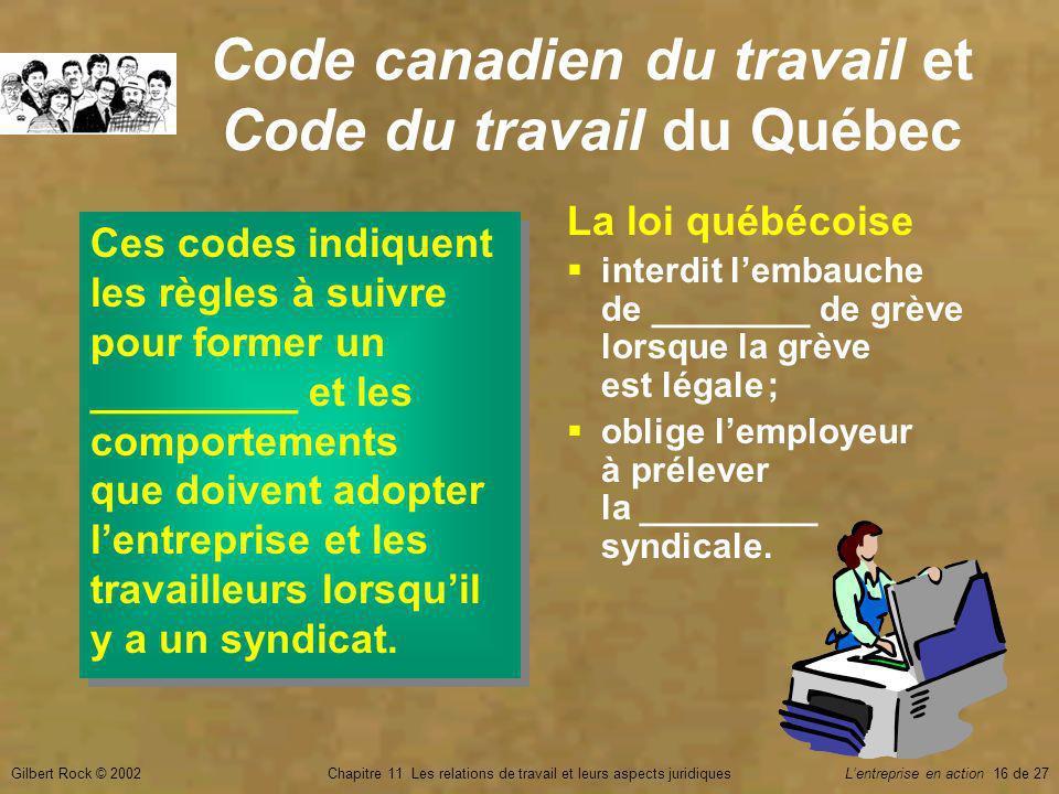 Gilbert Rock © 2002Chapitre 11 Les relations de travail et leurs aspects juridiquesLentreprise en action 16 de 27 Code canadien du travail et Code du travail du Québec Ces codes indiquent les règles à suivre pour former un _________ et les comportements que doivent adopter lentreprise et les travailleurs lorsquil y a un syndicat.