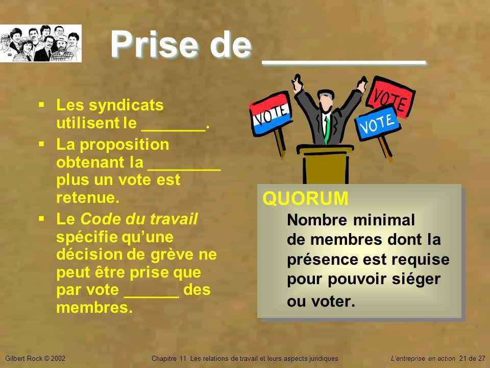 Gilbert Rock © 2002Chapitre 11 Les relations de travail et leurs aspects juridiquesLentreprise en action 21 de 27 Prise de ________ Les syndicats utilisent le _______.