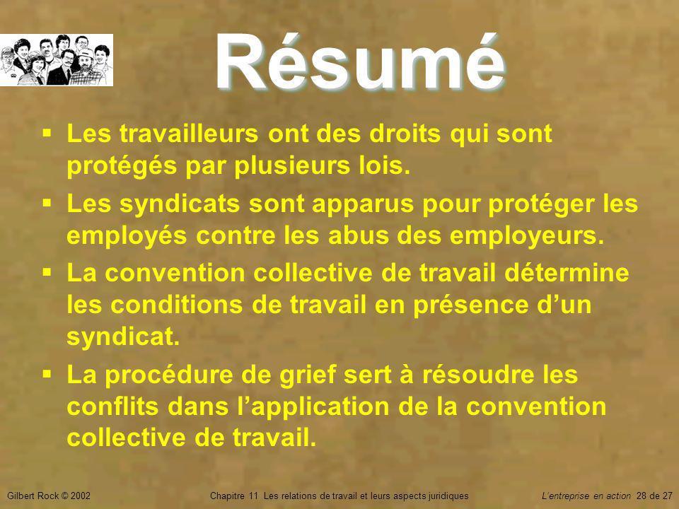 Gilbert Rock © 2002Chapitre 11 Les relations de travail et leurs aspects juridiquesLentreprise en action 28 de 27 Les travailleurs ont des droits qui sont protégés par plusieurs lois.