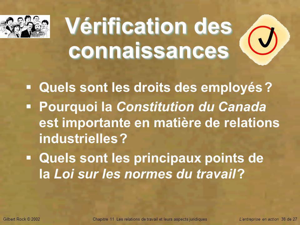 Gilbert Rock © 2002Chapitre 11 Les relations de travail et leurs aspects juridiquesLentreprise en action 38 de 27 Vérification des connaissances Quels sont les droits des employés .