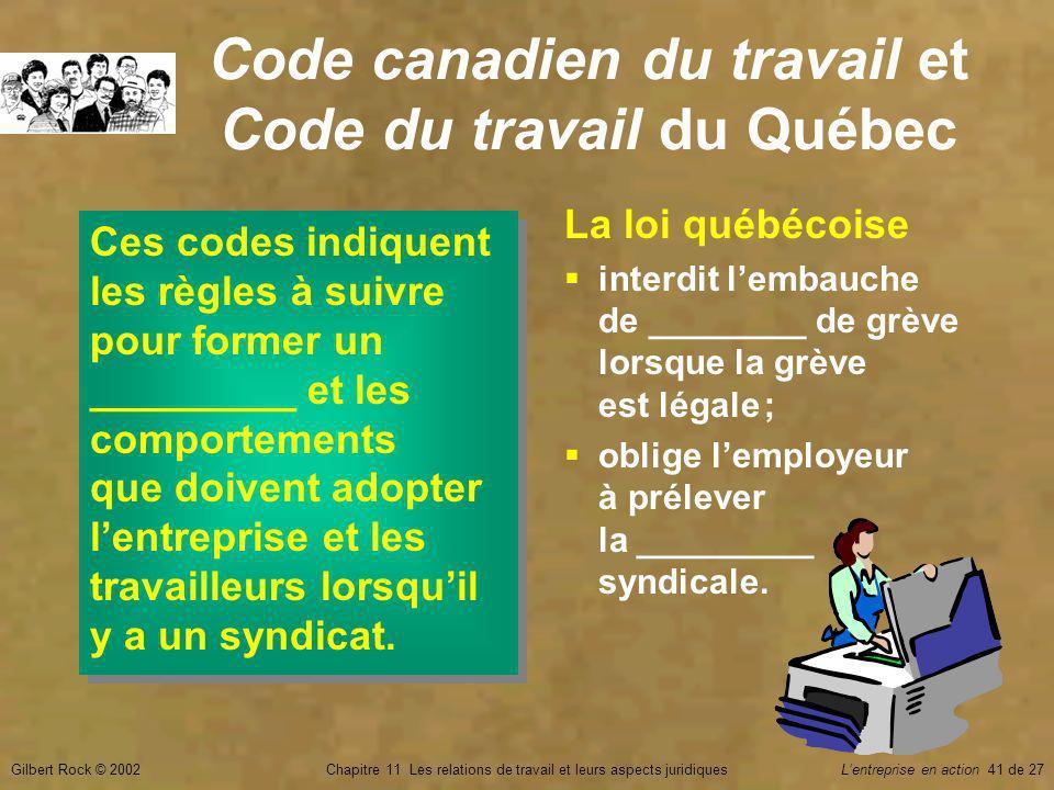 Gilbert Rock © 2002Chapitre 11 Les relations de travail et leurs aspects juridiquesLentreprise en action 41 de 27 Code canadien du travail et Code du travail du Québec Ces codes indiquent les règles à suivre pour former un _________ et les comportements que doivent adopter lentreprise et les travailleurs lorsquil y a un syndicat.