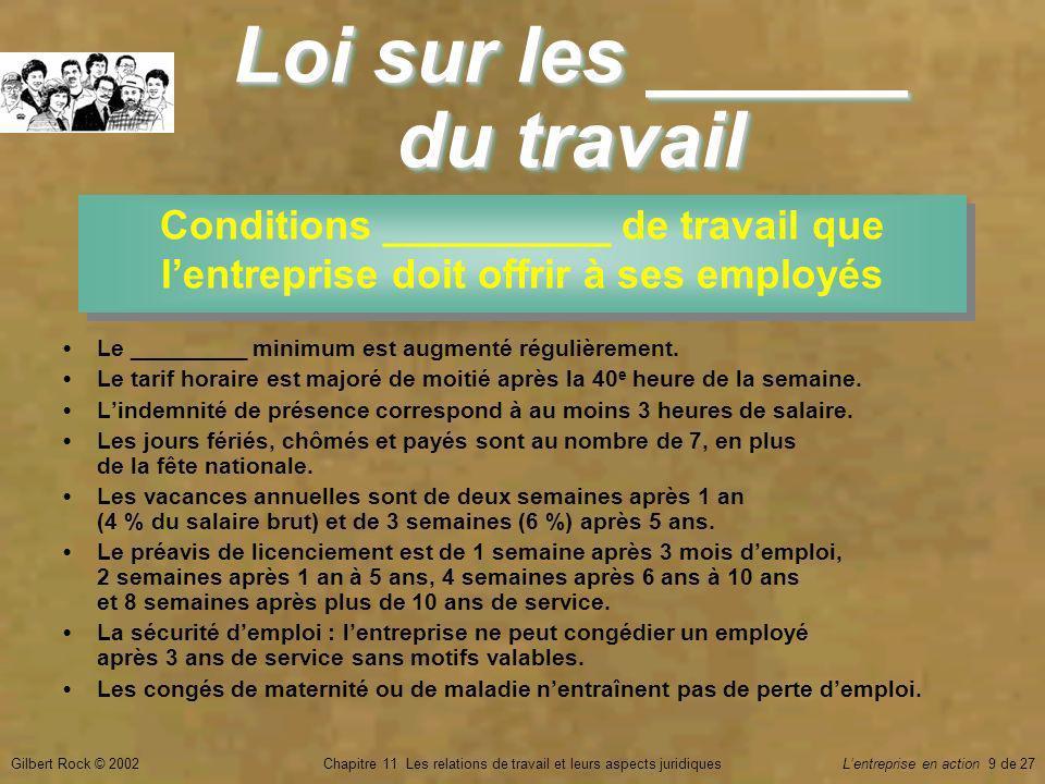 Gilbert Rock © 2002Chapitre 11 Les relations de travail et leurs aspects juridiquesLentreprise en action 9 de 27 Loi sur les ______ du travail Conditions __________ de travail que lentreprise doit offrir à ses employés Le _________ minimum est augmenté régulièrement.