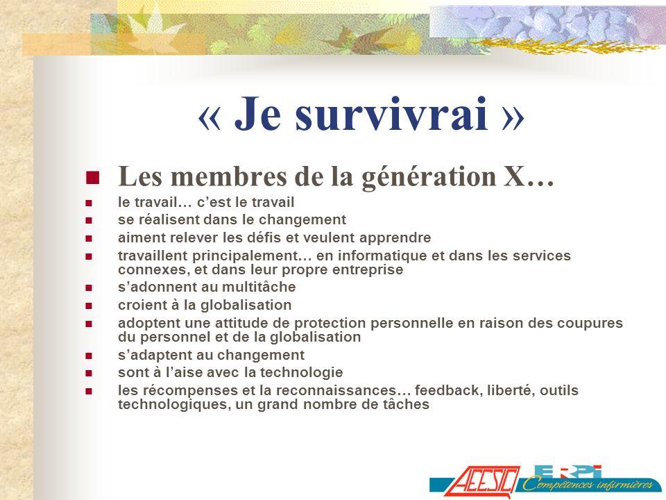 « Je survivrai » Les membres de la génération X… le travail… cest le travail se réalisent dans le changement aiment relever les défis et veulent appre
