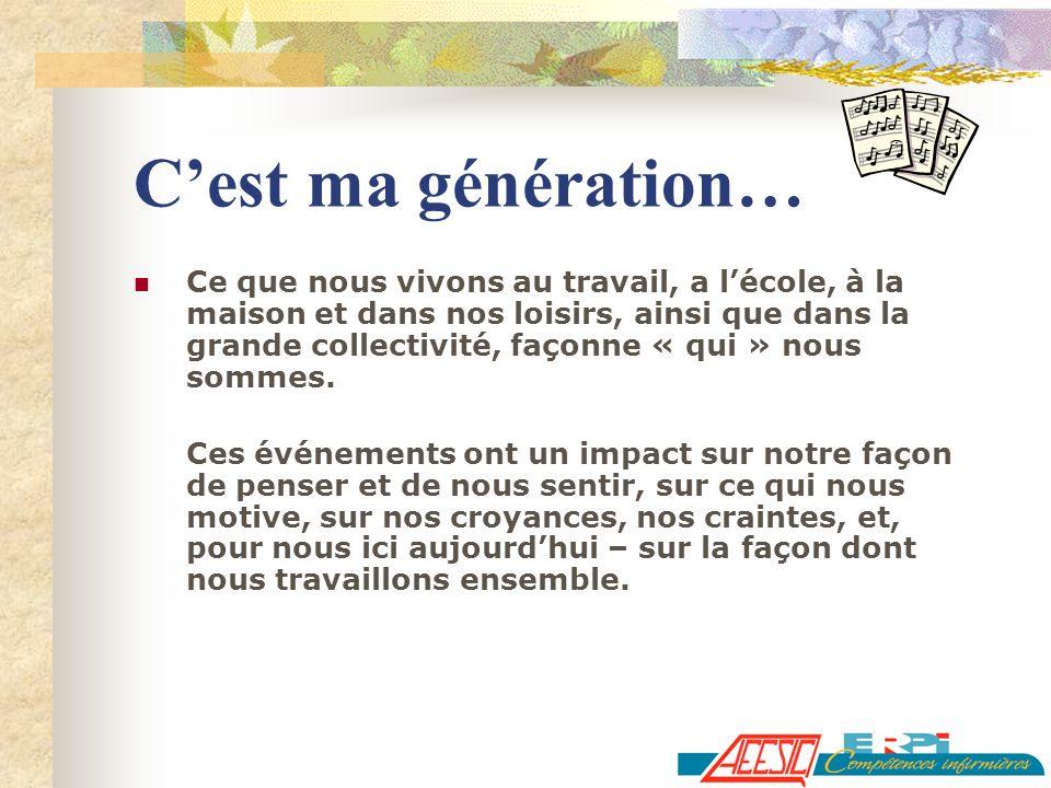 Cest ma génération… Ce que nous vivons au travail, a lécole, à la maison et dans nos loisirs, ainsi que dans la grande collectivité, façonne « qui » n