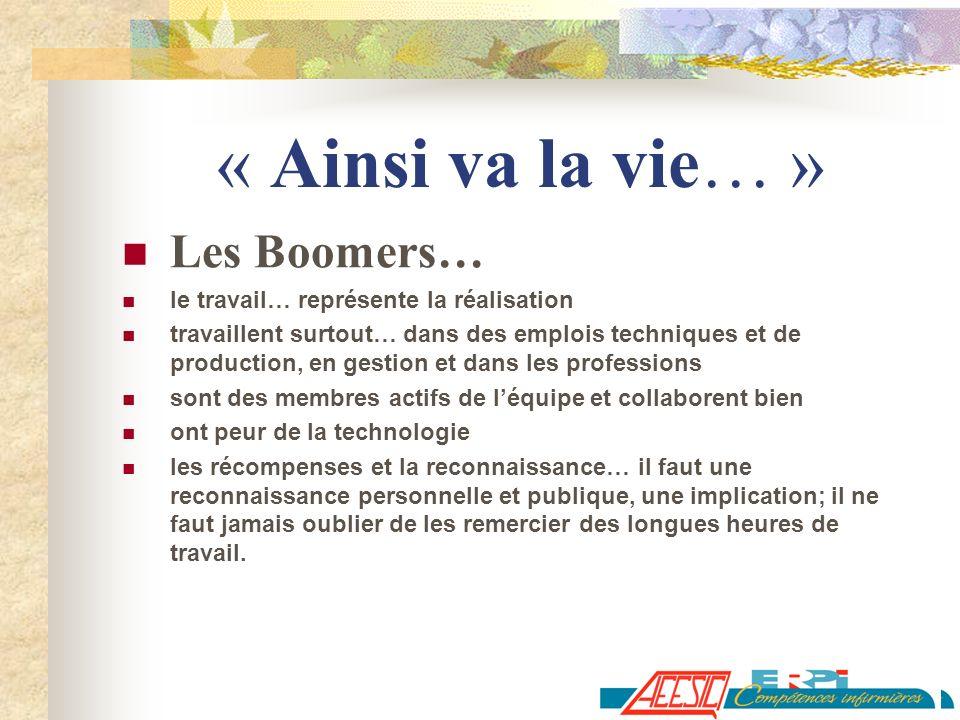« Ainsi va la vie… » Les Boomers… le travail… représente la réalisation travaillent surtout… dans des emplois techniques et de production, en gestion