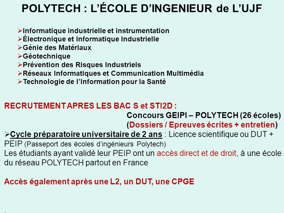 POLYTECH : LÉCOLE DINGENIEUR de LUJF Informatique industrielle et instrumentation Électronique et Informatique Industrielle Génie des Matériaux Géotec