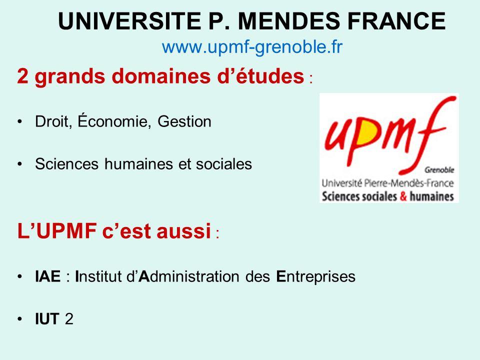 UNIVERSITE P. MENDES FRANCE www.upmf-grenoble.fr 2 grands domaines détudes : Droit, Économie, Gestion Sciences humaines et sociales LUPMF cest aussi :