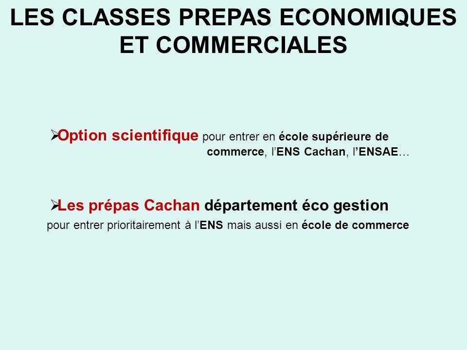 LES CLASSES PREPAS ECONOMIQUES ET COMMERCIALES Option scientifique pour entrer en école supérieure de commerce, lENS Cachan, lENSAE… Les prépas Cachan