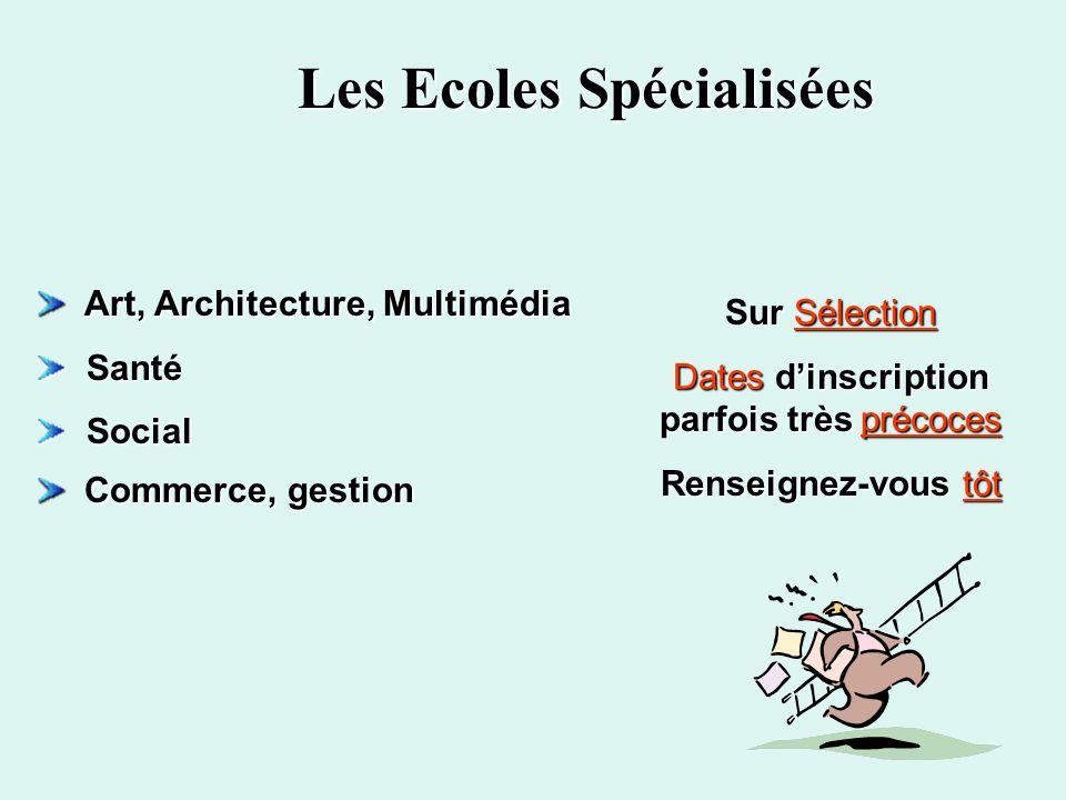 Les Ecoles Spécialisées Art, Architecture, Multimédia Art, Architecture, Multimédia Santé Santé Social Social Commerce, gestion Commerce, gestion Sur