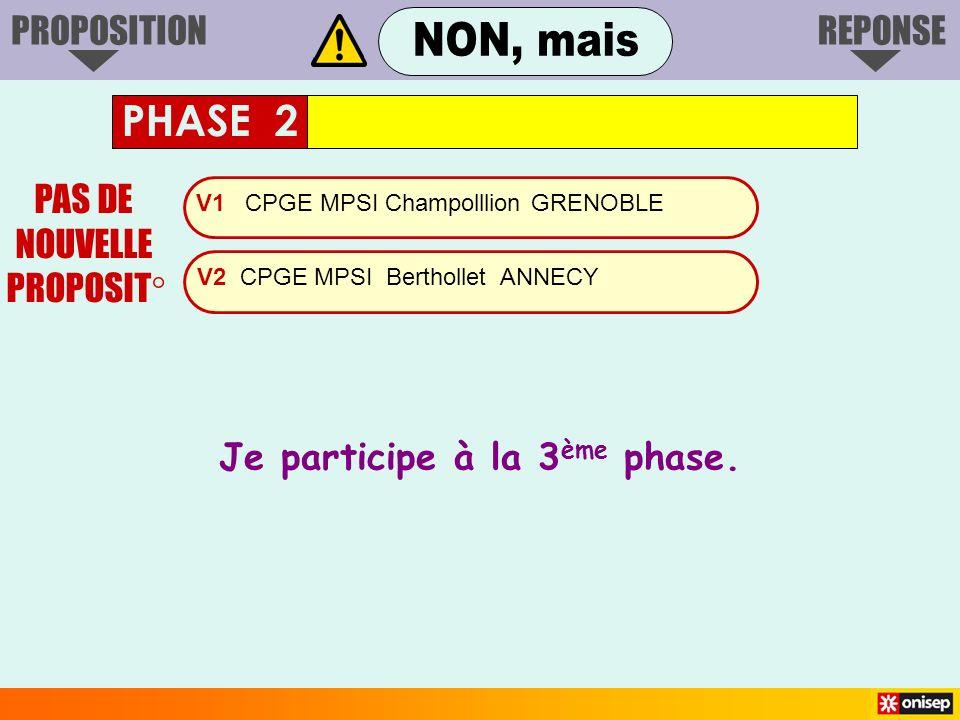V1 CPGE MPSI Champolllion GRENOBLE V2 CPGE MPSI Berthollet ANNECY PAS DE NOUVELLE PROPOSIT° Je participe à la 3 ème phase. PHASE 2 PROPOSITIONREPONSE