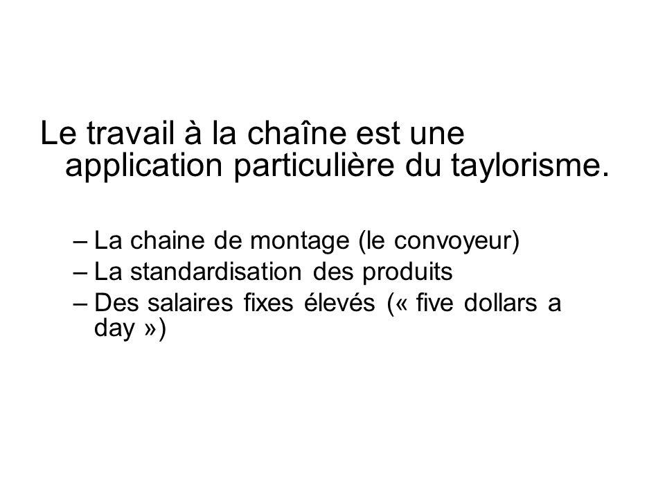 Le travail à la chaîne est une application particulière du taylorisme. –La chaine de montage (le convoyeur) –La standardisation des produits –Des sala