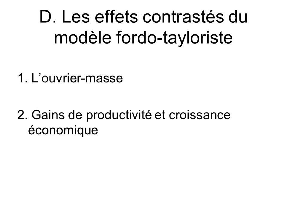 D. Les effets contrastés du modèle fordo-tayloriste 1. Louvrier-masse 2. Gains de productivité et croissance économique