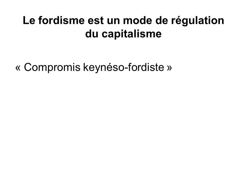Le fordisme est un mode de régulation du capitalisme « Compromis keynéso-fordiste »