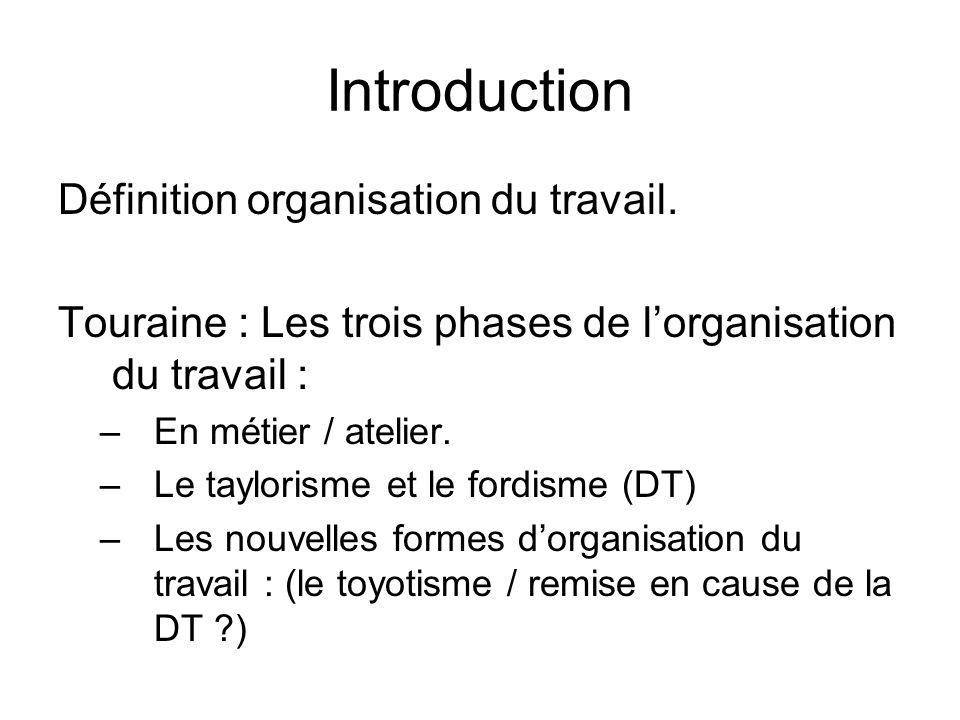 Introduction Définition organisation du travail. Touraine : Les trois phases de lorganisation du travail : –En métier / atelier. –Le taylorisme et le