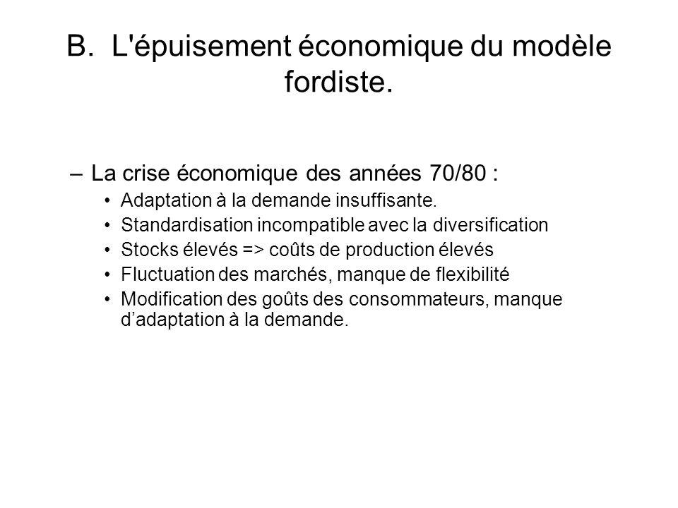B. L'épuisement économique du modèle fordiste. –La crise économique des années 70/80 : Adaptation à la demande insuffisante. Standardisation incompati