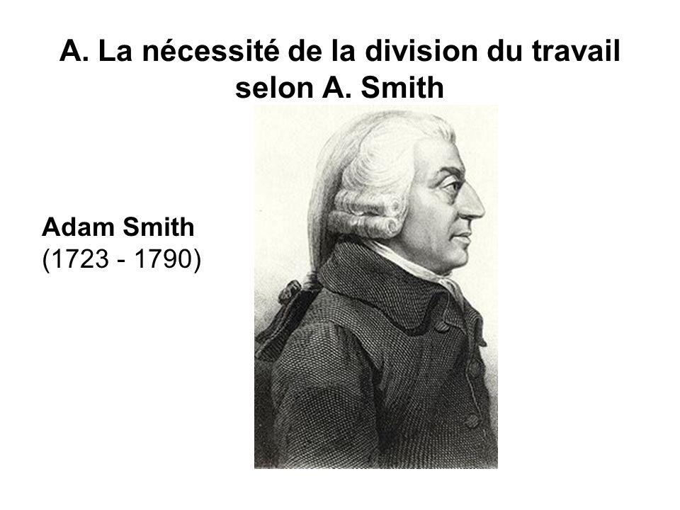 A. La nécessité de la division du travail selon A. Smith Adam Smith (1723 - 1790)