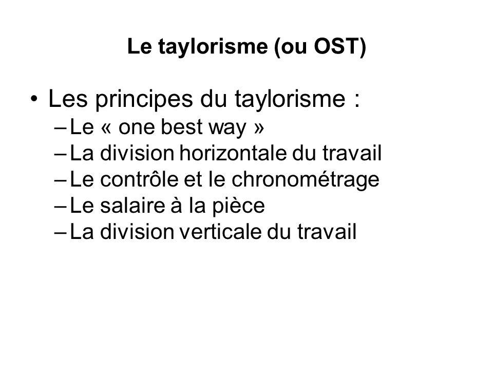 Le taylorisme (ou OST) Les principes du taylorisme : –Le « one best way » –La division horizontale du travail –Le contrôle et le chronométrage –Le salaire à la pièce –La division verticale du travail