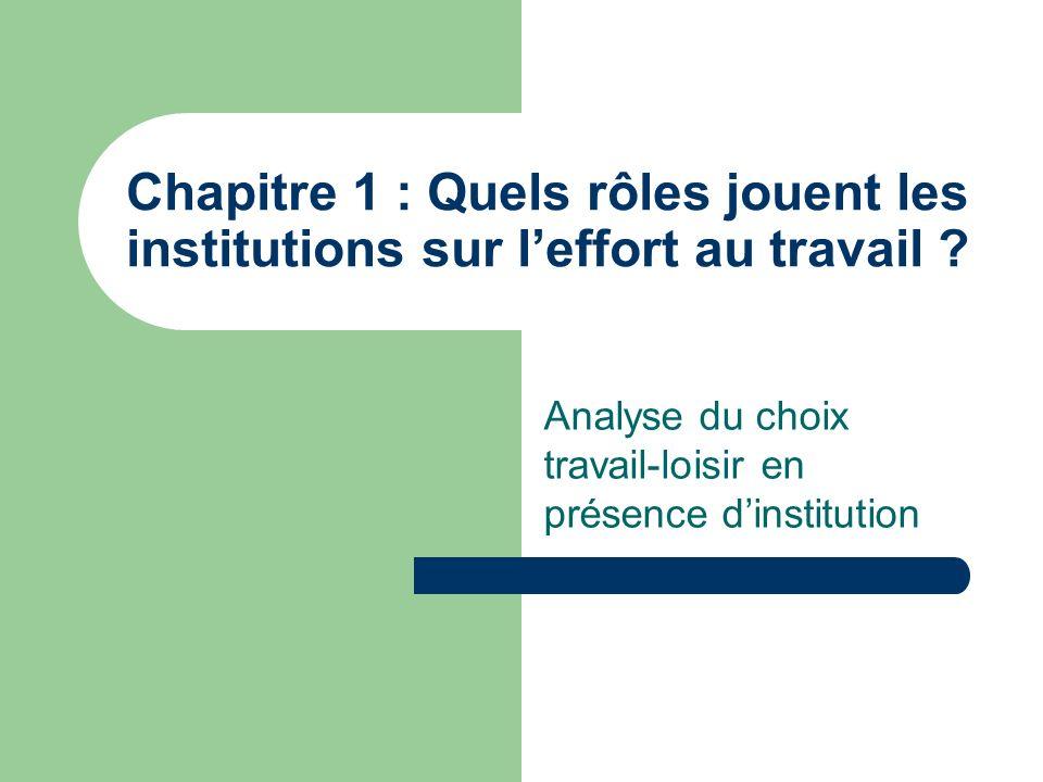 Chapitre 1 : Quels rôles jouent les institutions sur leffort au travail ? Analyse du choix travail-loisir en présence dinstitution