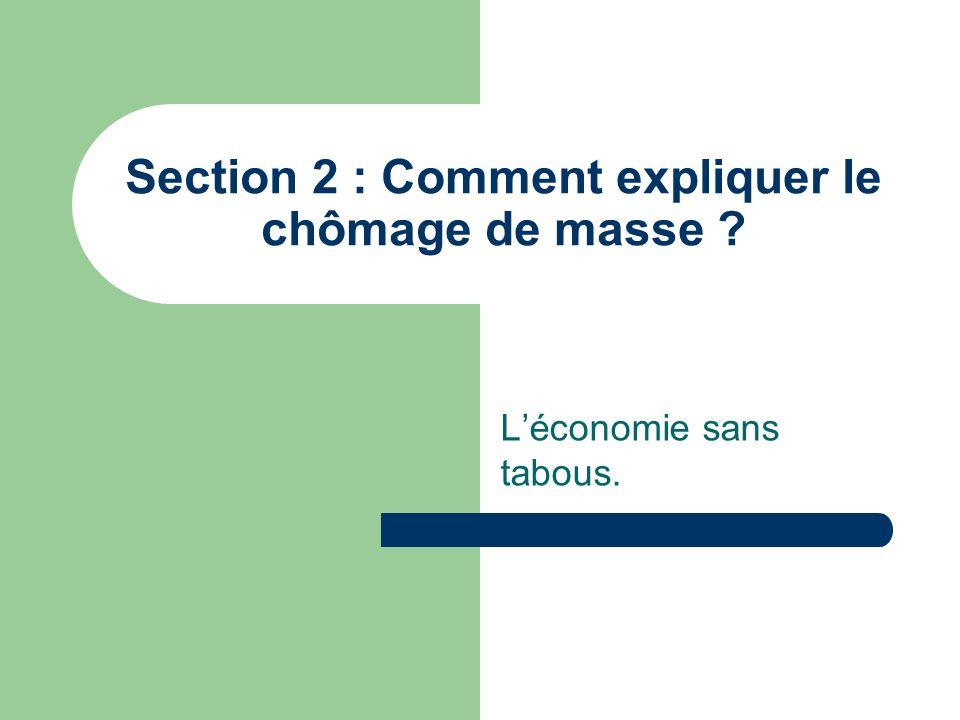 Section 2 : Comment expliquer le chômage de masse ? Léconomie sans tabous.