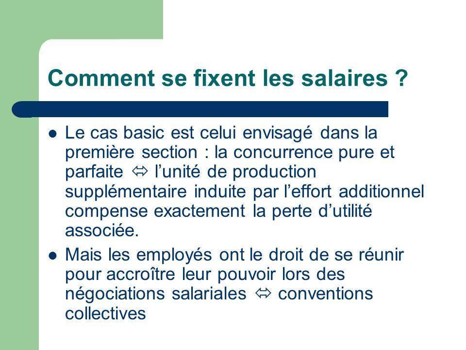 Comment se fixent les salaires ? Le cas basic est celui envisagé dans la première section : la concurrence pure et parfaite lunité de production suppl