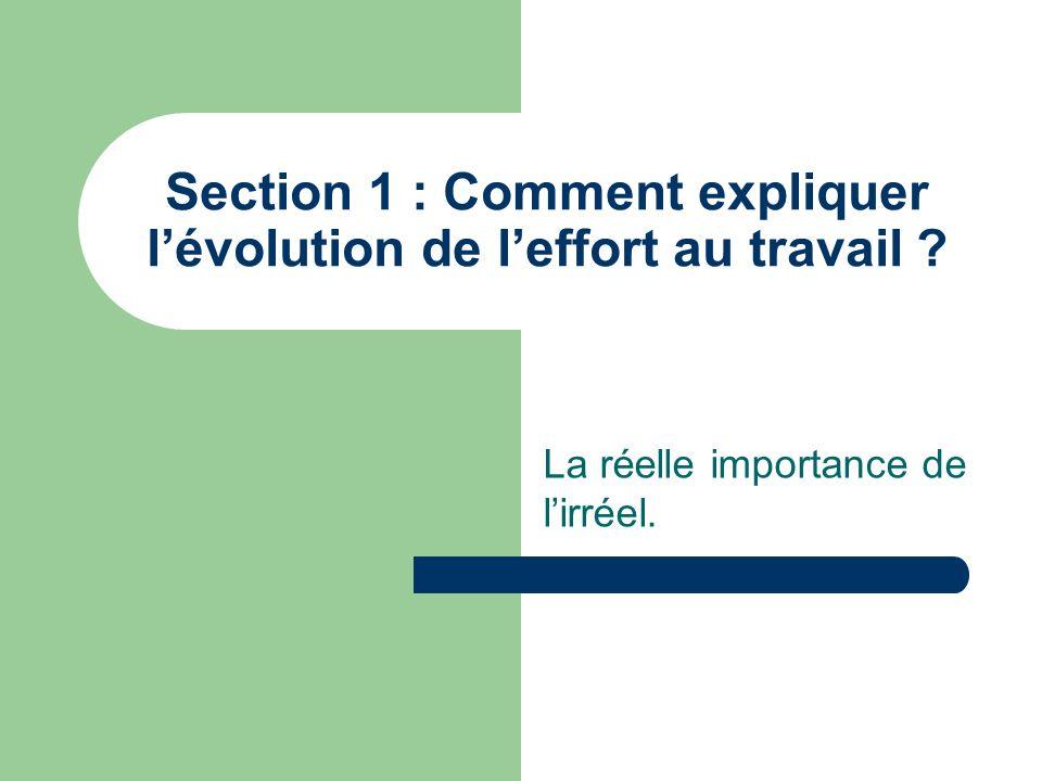 Section 1 : Comment expliquer lévolution de leffort au travail ? La réelle importance de lirréel.