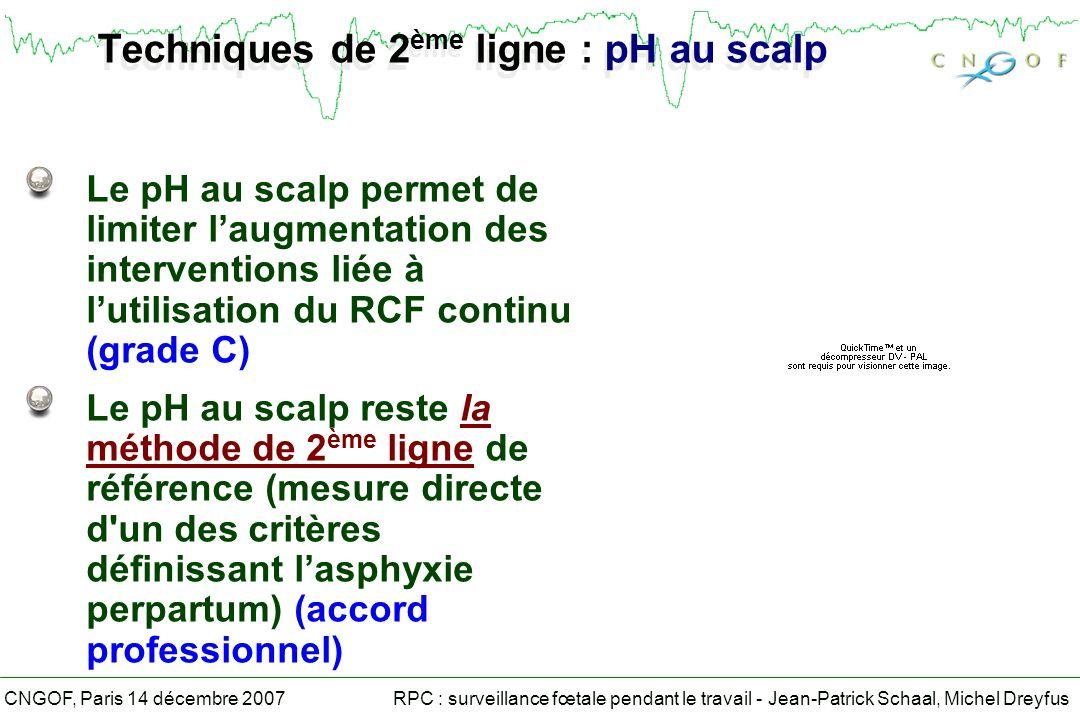 RPC : surveillance fœtale pendant le travail - Jean-Patrick Schaal, Michel DreyfusCNGOF, Paris 14 décembre 2007 Techniques de 2 ème ligne : pH au scalp Le pH au scalp permet de limiter laugmentation des interventions liée à lutilisation du RCF continu (grade C) Le pH au scalp reste la méthode de 2 ème ligne de référence (mesure directe d un des critères définissant lasphyxie perpartum) (accord professionnel)
