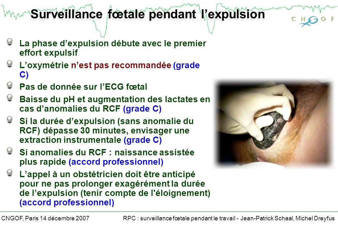 RPC : surveillance fœtale pendant le travail - Jean-Patrick Schaal, Michel DreyfusCNGOF, Paris 14 décembre 2007 Surveillance fœtale pendant lexpulsion La phase dexpulsion débute avec le premier effort expulsif Loxymétrie nest pas recommandée (grade C) Pas de donnée sur lECG fœtal Baisse du pH et augmentation des lactates en cas danomalies du RCF (grade C) Si la durée dexpulsion (sans anomalie du RCF) dépasse 30 minutes, envisager une extraction instrumentale (grade C) Si anomalies du RCF : naissance assistée plus rapide (accord professionnel) Lappel à un obstétricien doit être anticipé pour ne pas prolonger exagérément la durée de lexpulsion (tenir compte de l éloignement) (accord professionnel)