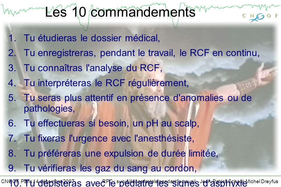 RPC : surveillance fœtale pendant le travail - Jean-Patrick Schaal, Michel DreyfusCNGOF, Paris 14 décembre 2007 Les 10 commandements 1.