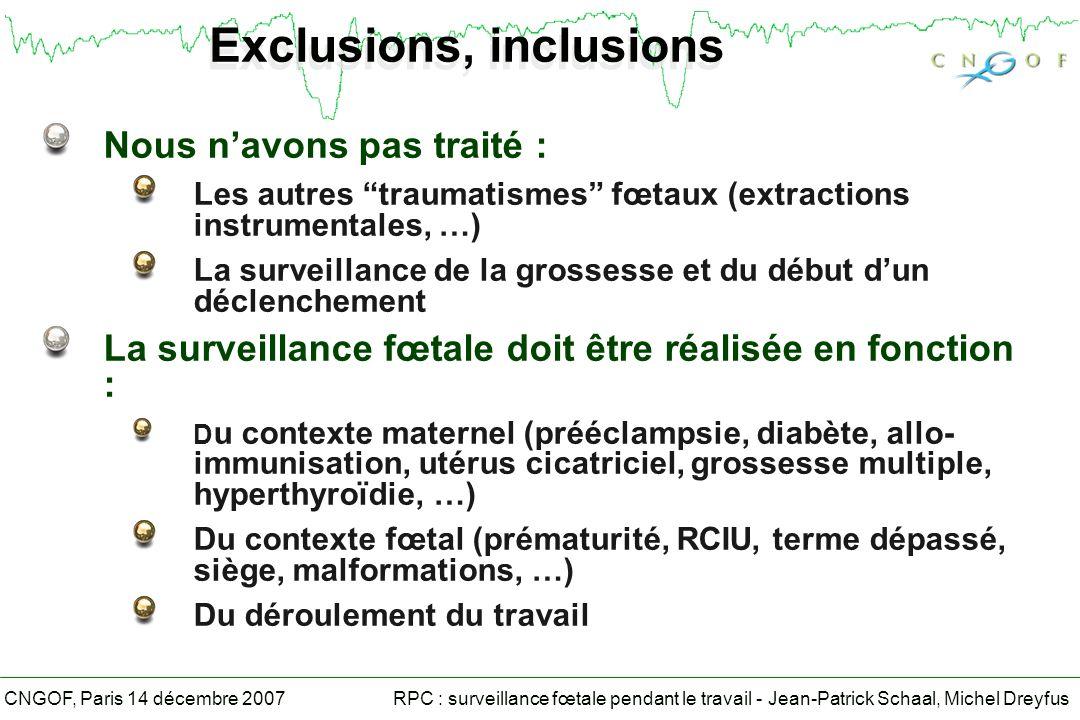 RPC : surveillance fœtale pendant le travail - Jean-Patrick Schaal, Michel DreyfusCNGOF, Paris 14 décembre 2007 Asphyxie perpartum Labsence dencéphalopathie néonatale écarte lhypothèse dasphyxie perpartum (grade B) Les critères permettant dattribuer une encéphalopathie néonatale ou une paralysie cérébrale à une asphyxie perpartum ont été définis par la Cerebral Palsy Task Force (1999), revisités par lAmerican College of Obstetricians and Gynecologists et lAmerican Academy of Pediatrics (2003) (grade B) Le pronostic neurologique des nouveau-nés ayant présenté une encéphalopathie post-anoxique repose sur lévaluation clinique, électro-encéphalographique et sur lIRM (Grade B)