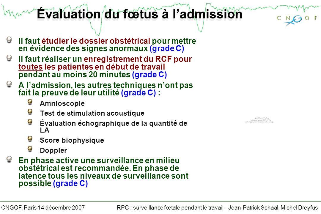 RPC : surveillance fœtale pendant le travail - Jean-Patrick Schaal, Michel DreyfusCNGOF, Paris 14 décembre 2007 Risque majeur dacidose Pas de recours aux moyens de surveillance de deuxième ligne Extraction immédiate (grade B)
