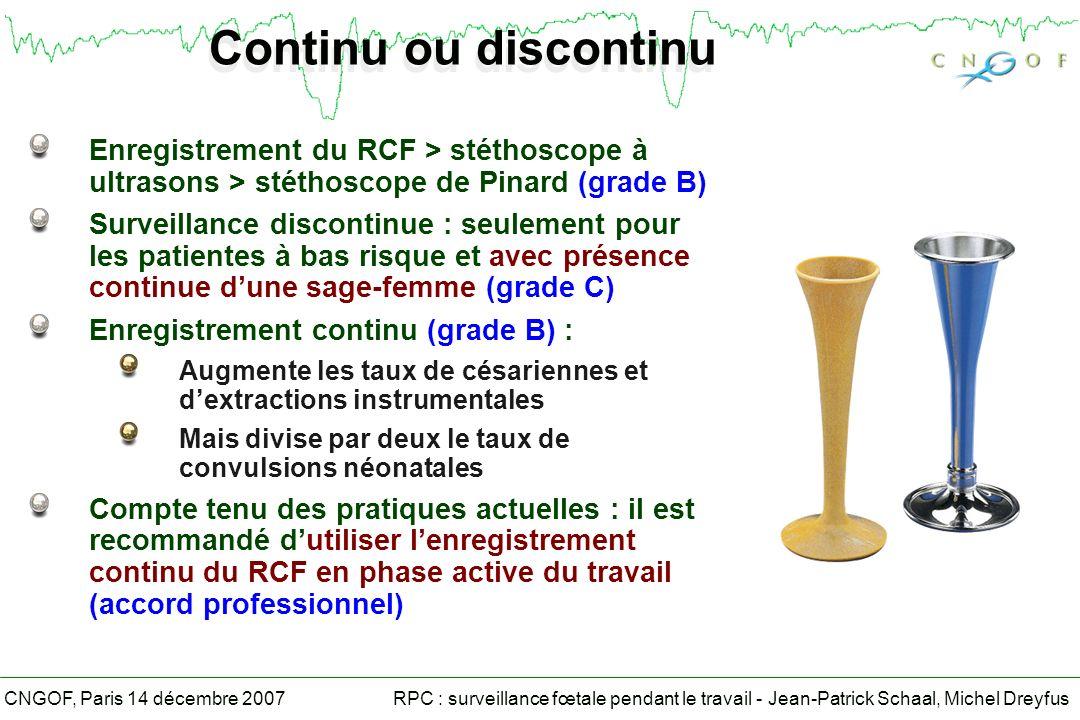 RPC : surveillance fœtale pendant le travail - Jean-Patrick Schaal, Michel DreyfusCNGOF, Paris 14 décembre 2007 Continu ou discontinu Enregistrement du RCF > stéthoscope à ultrasons > stéthoscope de Pinard (grade B) Surveillance discontinue : seulement pour les patientes à bas risque et avec présence continue dune sage-femme (grade C) Enregistrement continu (grade B) : Augmente les taux de césariennes et dextractions instrumentales Mais divise par deux le taux de convulsions néonatales Compte tenu des pratiques actuelles : il est recommandé dutiliser lenregistrement continu du RCF en phase active du travail (accord professionnel)