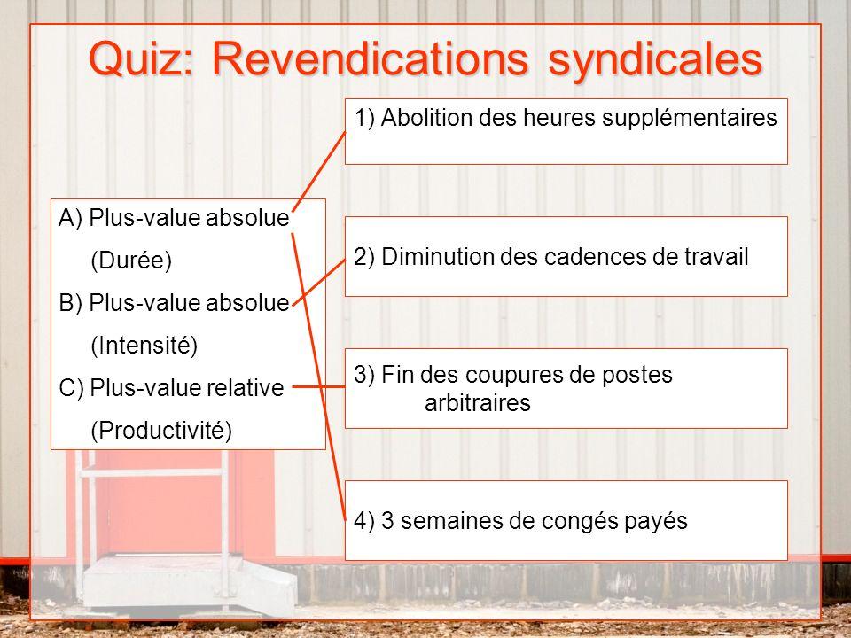 Quiz: Revendications syndicales 1) Abolition des heures supplémentaires 2) Diminution des cadences de travail 3) Fin des coupures de postes arbitraire