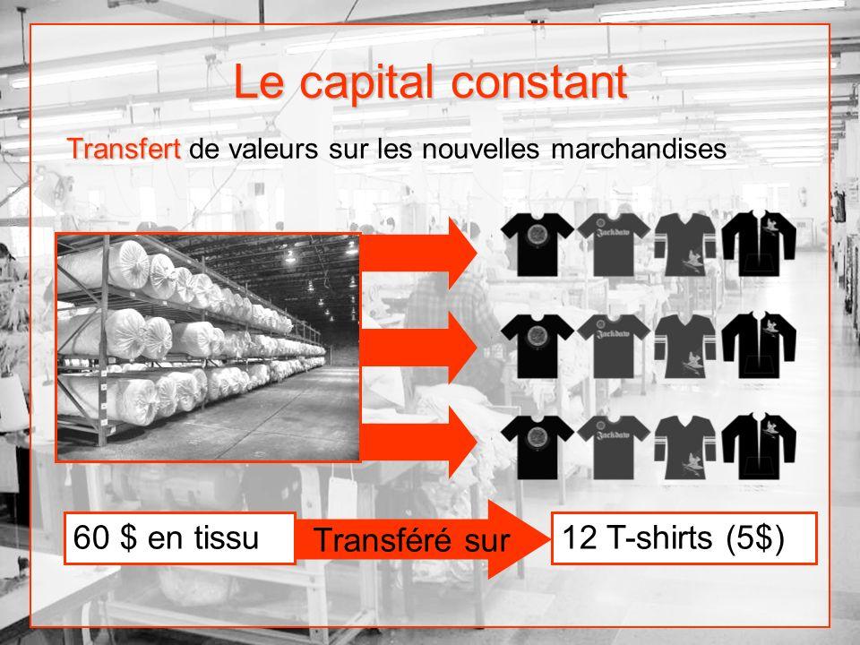 Le capital constant Transfert Transfert de valeurs sur les nouvelles marchandises Transféré sur 60 $ en tissu12 T-shirts (5$)