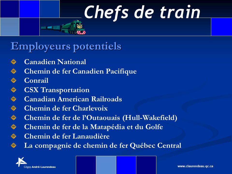 Chefs de train www.claurendeau.qc.ca Employeurs potentiels Canadien National Chemin de fer Canadien Pacifique Conrail CSX Transportation Canadian Amer