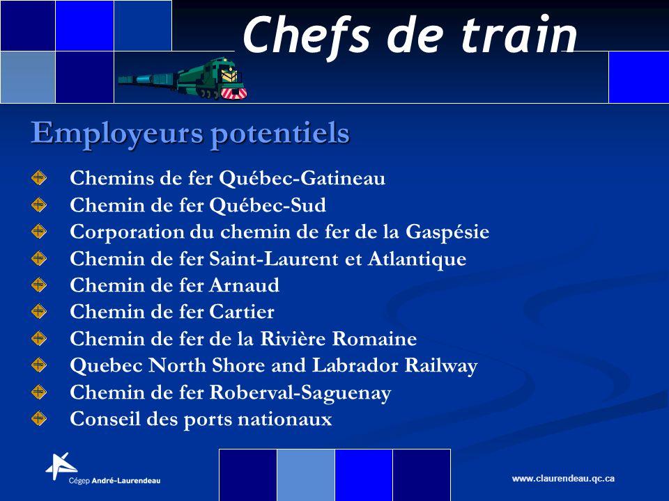 Chefs de train www.claurendeau.qc.ca Employeurs potentiels Chemins de fer Québec-Gatineau Chemin de fer Québec-Sud Corporation du chemin de fer de la