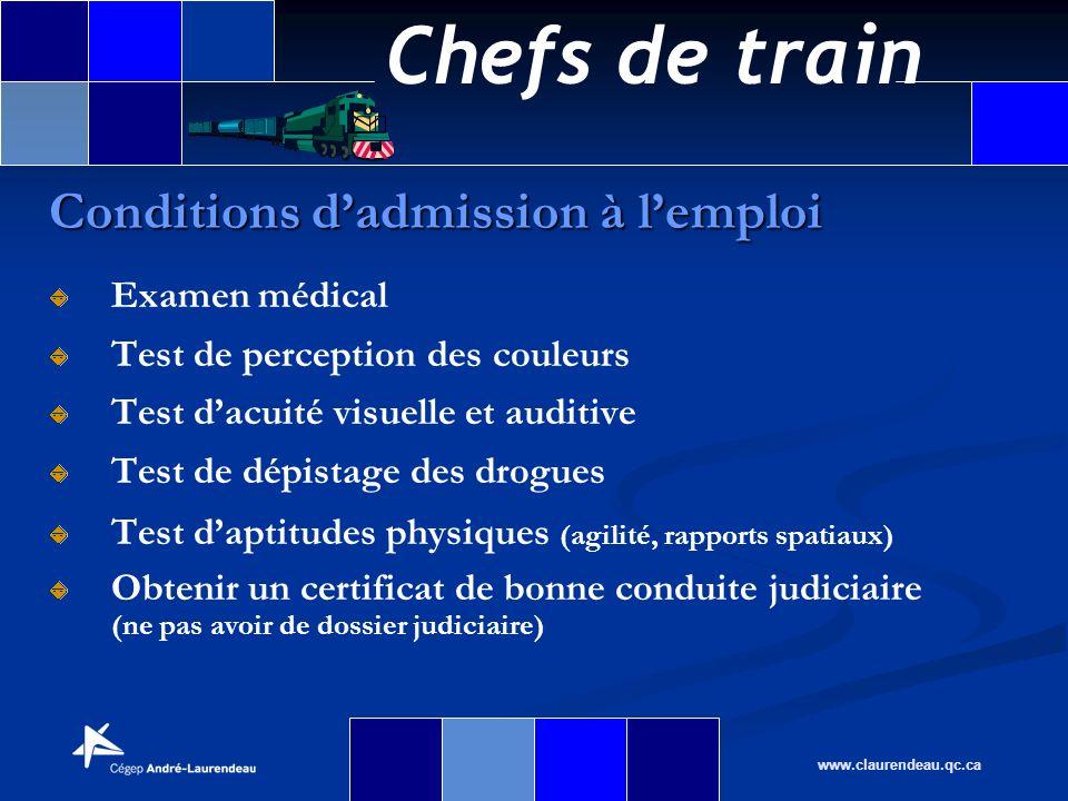 Chefs de train www.claurendeau.qc.ca Conditions dadmission à lemploi Examen médical Test de perception des couleurs Test dacuité visuelle et auditive