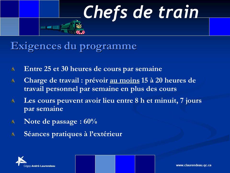Chefs de train www.claurendeau.qc.ca Entre 25 et 30 heures de cours par semaine Charge de travail : prévoir au moins 15 à 20 heures de travail personn