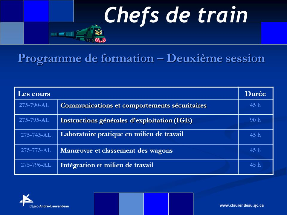 Chefs de train www.claurendeau.qc.ca Programme de formation – Deuxième session Les coursDurée 275-790-AL Communications et comportements sécuritaires