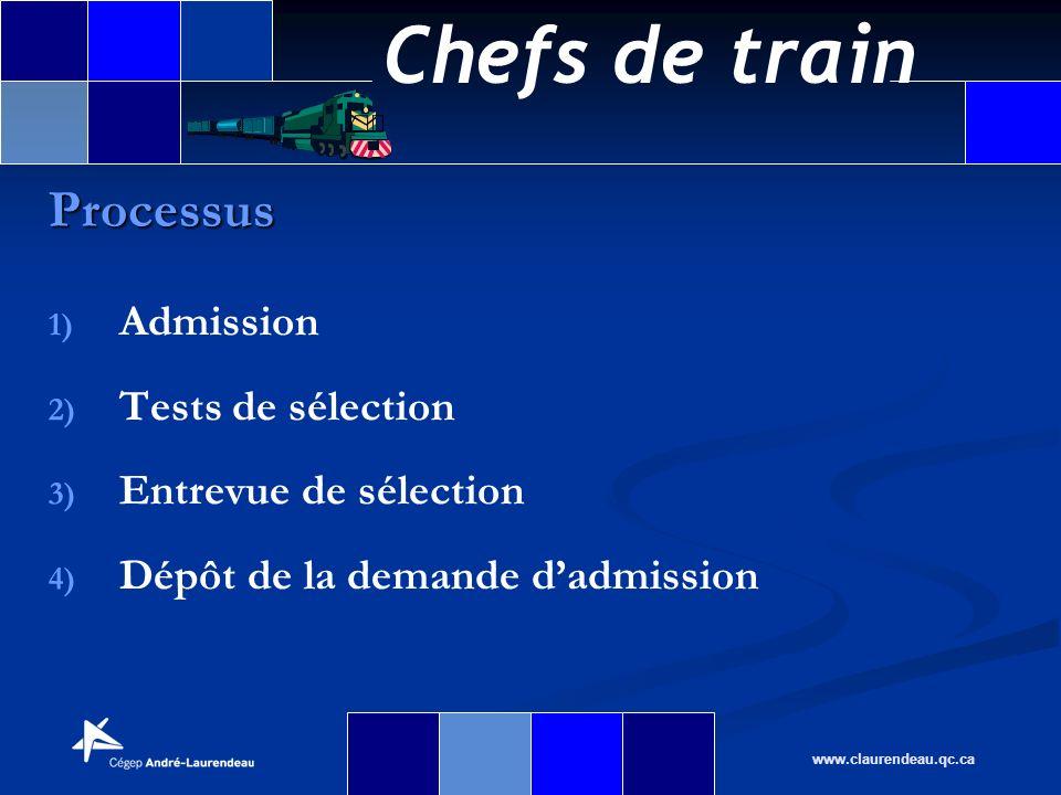 Chefs de train www.claurendeau.qc.ca 1) 1) Admission 2) 2) Tests de sélection 3) 3) Entrevue de sélection 4) 4) Dépôt de la demande dadmission Process