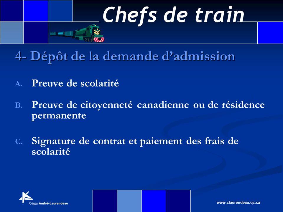 Chefs de train www.claurendeau.qc.ca A. A. Preuve de scolarité B. B. Preuve de citoyenneté canadienne ou de résidence permanente C. C. Signature de co