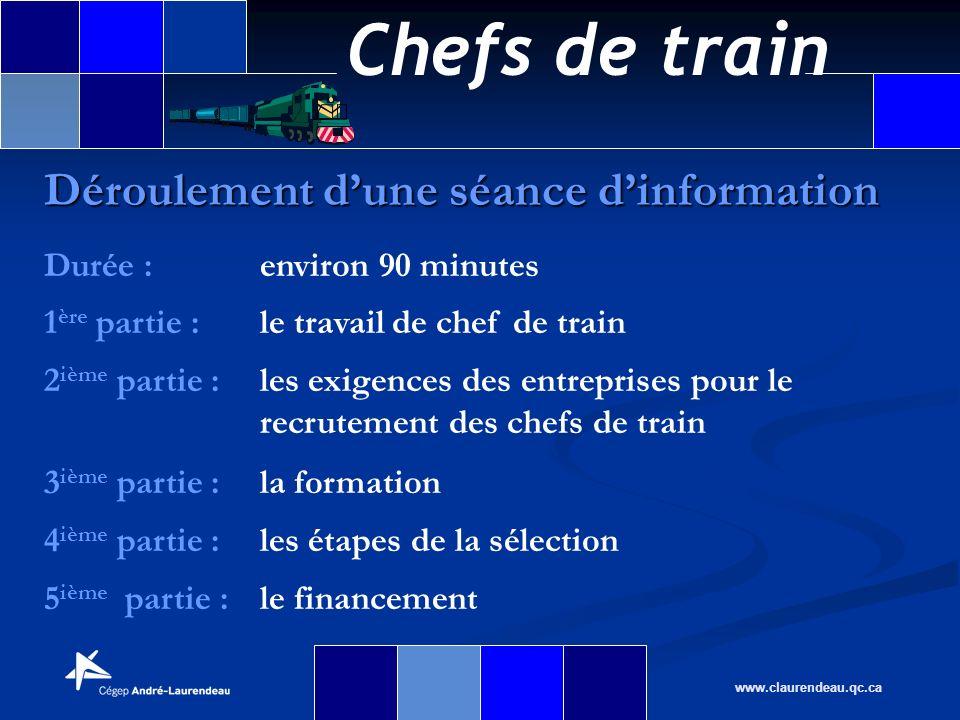 Chefs de train www.claurendeau.qc.ca Déroulement dune séance dinformation Durée :environ 90 minutes 1 ère partie :le travail de chef de train 2 ième p