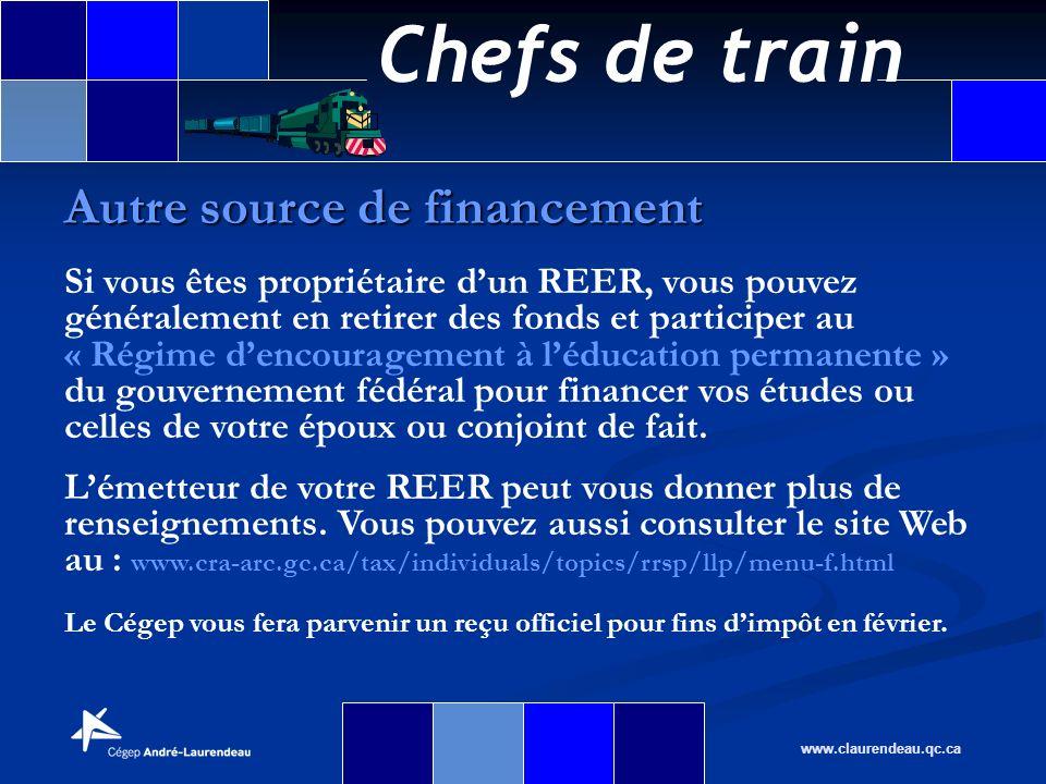 Chefs de train www.claurendeau.qc.ca Autre source de financement Si vous êtes propriétaire dun REER, vous pouvez généralement en retirer des fonds et